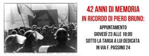 42 Anni di Memoria – In Ricordo di Piero Bruno – Giovedì 23 Novembre ore 18.00